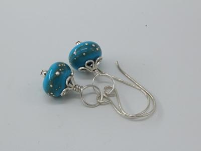 Fine silver trailed earrings - sky blue