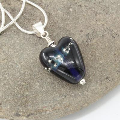 Fine silver trailed heart pendant - Blue ink
