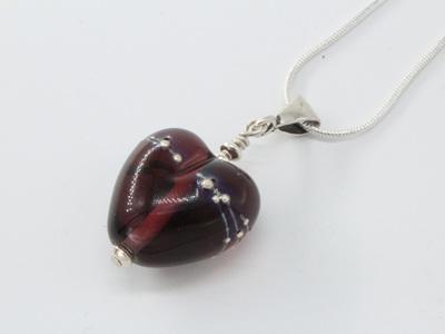 Fine silver trailed heart pendant - violet