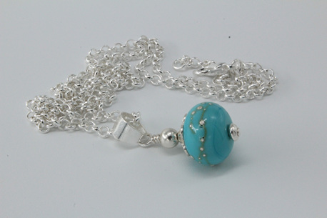 Fine silver trailed pendant - light turquoise