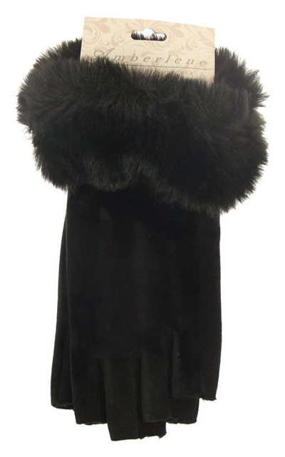 Fingerless Gloves with Faux Fur