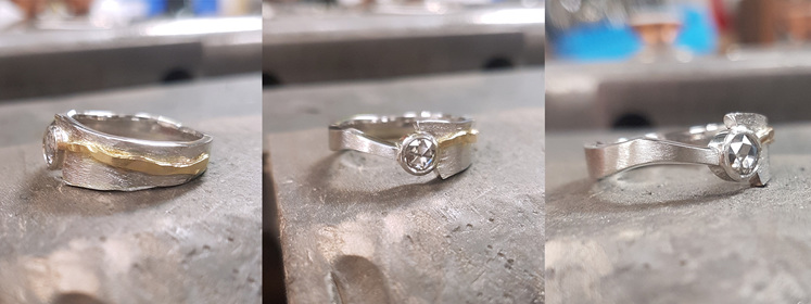 Finished custom bespoke contemporary engagement ring