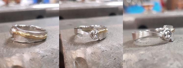 Finished custom bespoke contemporary engagement ring