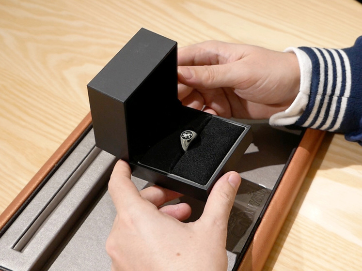 Finished Signet Ring Presented to Luke in Ring Box