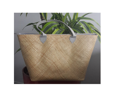 Firme Tote Bag with Gray Leather Straps
