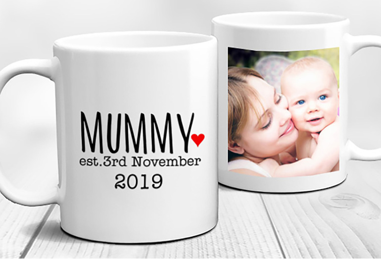 First Time Mummy Established Birth Year Personalised Mug with Photo