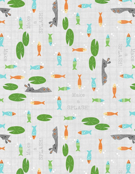 Fish & Lily Pads Gray 68529974