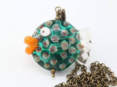 Fish necklace - Teal