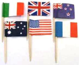 Flag Picks Assorted - pack of 20 - NZ, Australia, USA, Italy, France & UK