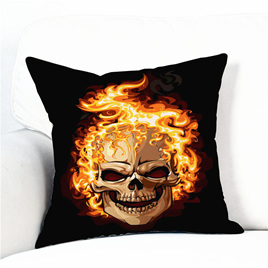 Flaming Skull Polyester Cushion Cover