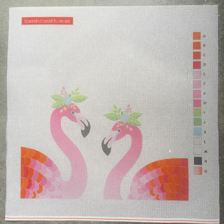 flamingo needlepoint canvas