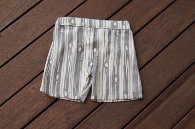 Flat-front shorts, 'Bear Bois' GOTS Organic Cotton, 1 year