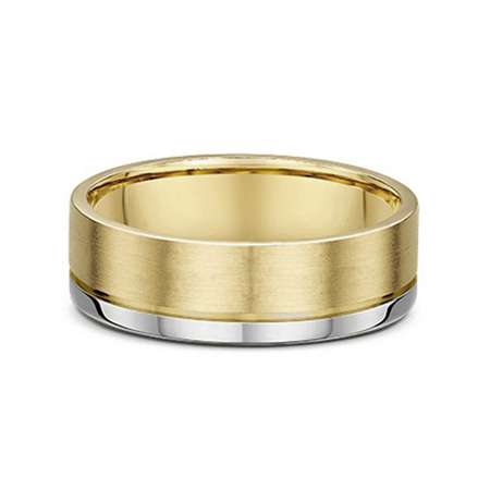 Flat Profile Grooved Mens Wedding Ring