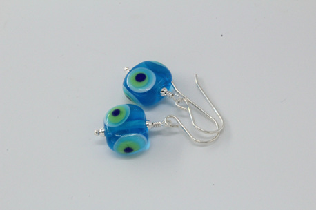 Flat tab earrings - funky dots on aquamarine
