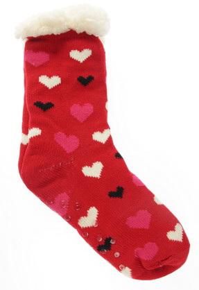 Fleece-Lined Indoor Slipper Socks with Heart Pattern (Adult)
