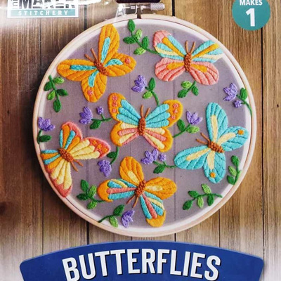 Floating Butterflies Embroidery Stitch Kit