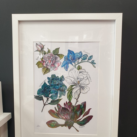Floral 5 A4 Print Framed