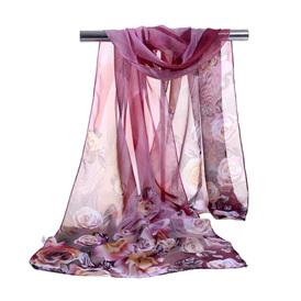 Floral Chiffon Scarf - Purple Code FS01