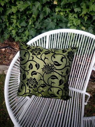 Floral Design Green Cushion Cover