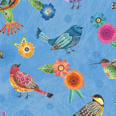 Floral Flight - Birds Blue
