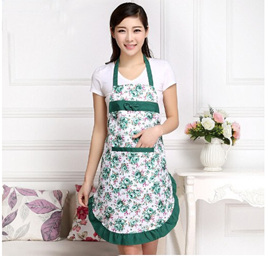 FLORAL GREEN TRIM ADULTS APRON