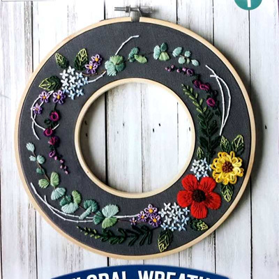 Floral Hoop Wreath Embroidery Stitch Kit