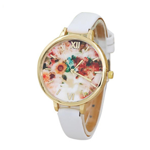 Floral Thin Strap Ladies Watch (multiple Colour options available)