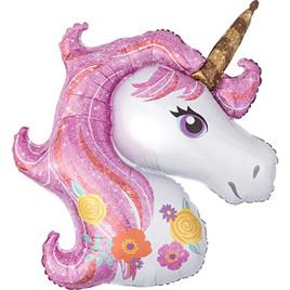Floral unicorn foil balloon