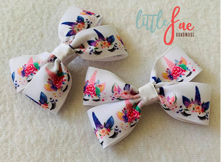 Floral Unicorn Hair Bows