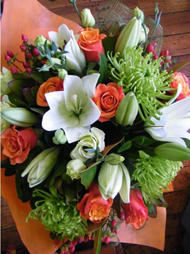 Florist Choice Orange and Lime Bouquet