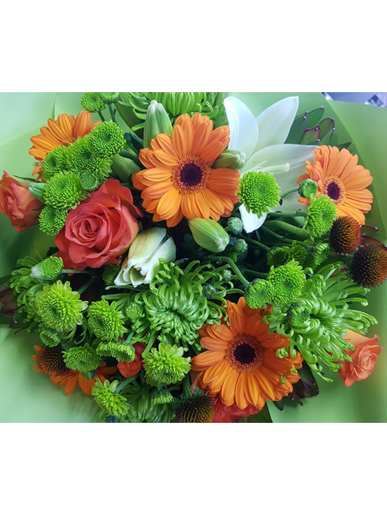 Florist Choice Orange and Lime Bouquet