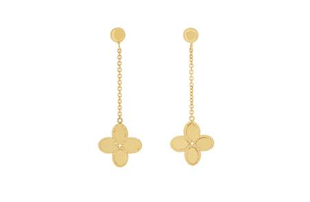Flower Drop Stud Gold Earrings