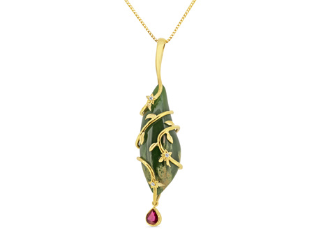 Flower Jade and Ruby Pendant