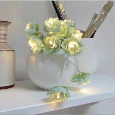 2m Rambling Rose Green Flower Fairy Lights - Warm White