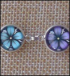 Flower Pattern Glass Dome Bracelets