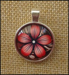 Flower Pattern Glass Dome Key Ring