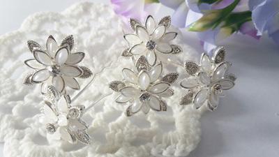 Flower Pearl & Rhinestones Hair Pins