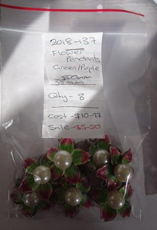 Flower Pendants - Green / Purple