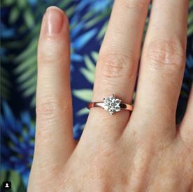 flower petal diamond cluster engagement ring