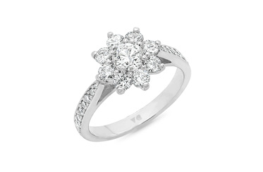 Flower Petal Diamond Cluster Ring