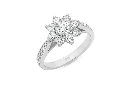 Flower Petal Diamond Cluster Ring