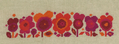 Flower Power Red Cross Stitch by Mary Self (Also available in blue)