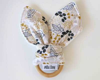 Flowers and Doves Mustard Bunny Teether