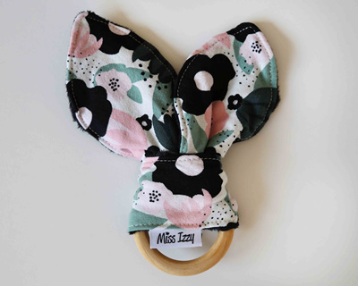 Flowers Black Bunny Teether