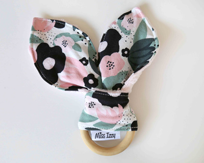 Flowers Cream Bunny Teether