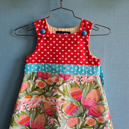 Flowers & Hearts Pinny Dress - SIZE 4