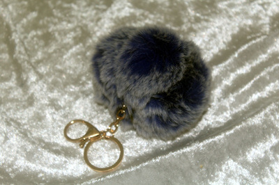 Fluffy Keyring (large) - Blue with White Tip