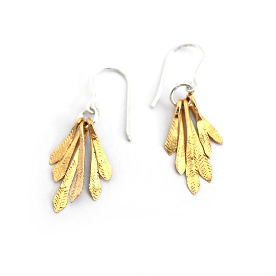 flutter gold sterling silver feather leaves drop earrings summer light