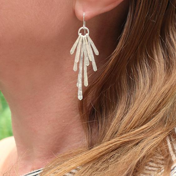 flutter statement earrings silver long dangle fireworks organic sterling silver