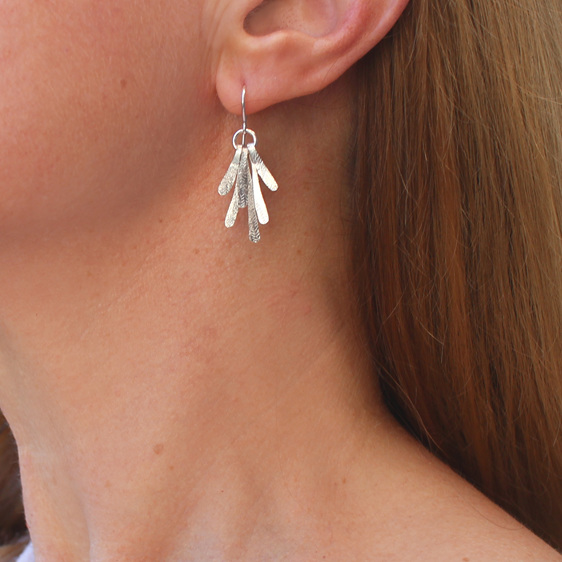 flutter sterling silver hammered textured organic unique dangle earrings